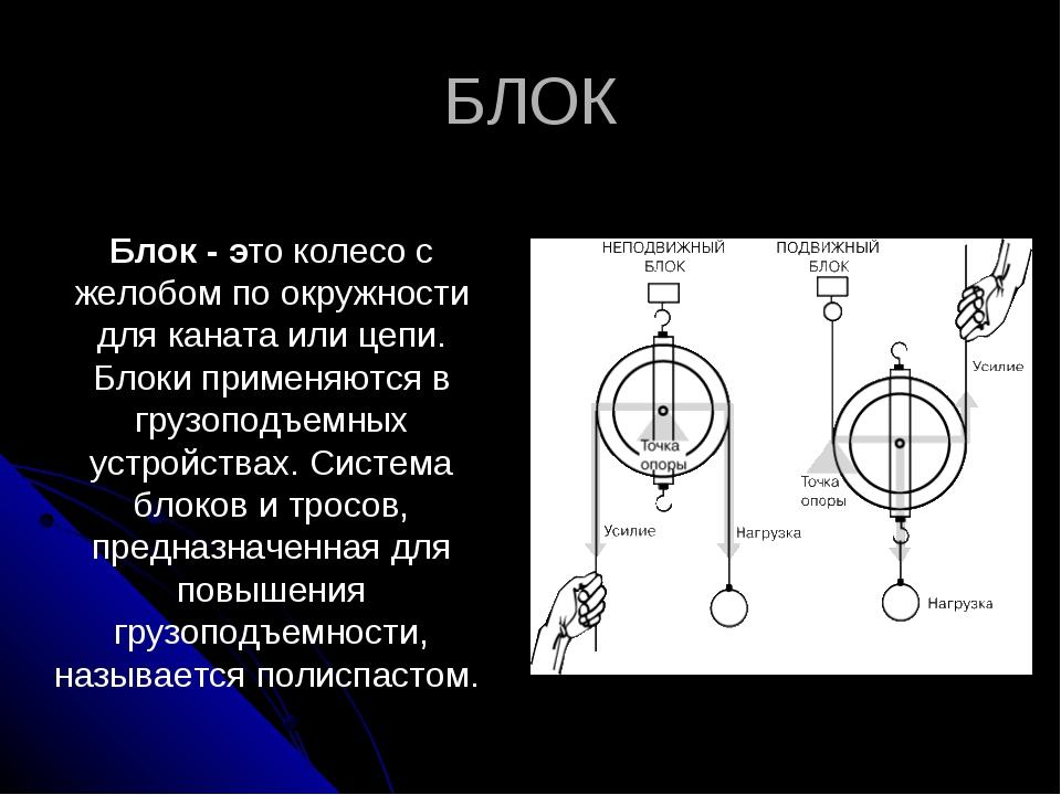 БЛОК  Блок - это колесо с желобом по окружности для каната или цепи. Блоки п...