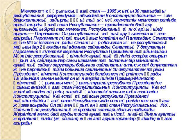 Мемлекеттiк құрылысы. Қазақстан — 1995 жылғы 30 тамыздағы республикалық рефер...