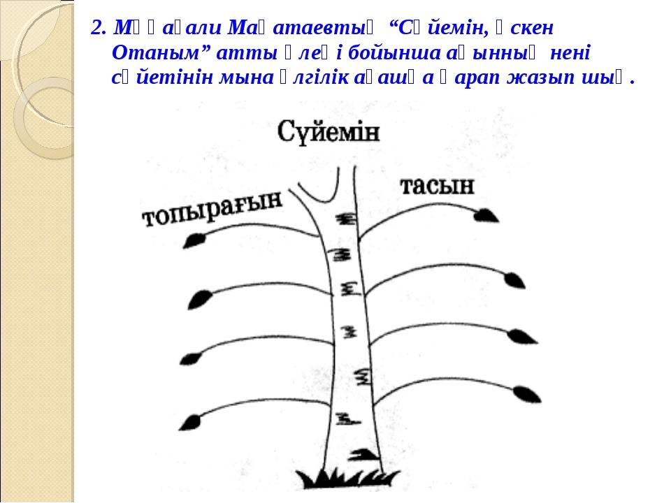 """2. Мұқағали Мақатаевтың """"Сүйемін, өскен Отаным"""" атты өлеңі бойынша ақынның не..."""