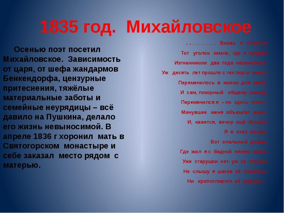 1835 год. Михайловское Осенью поэт посетил Михайловское. Зависимость от царя,...