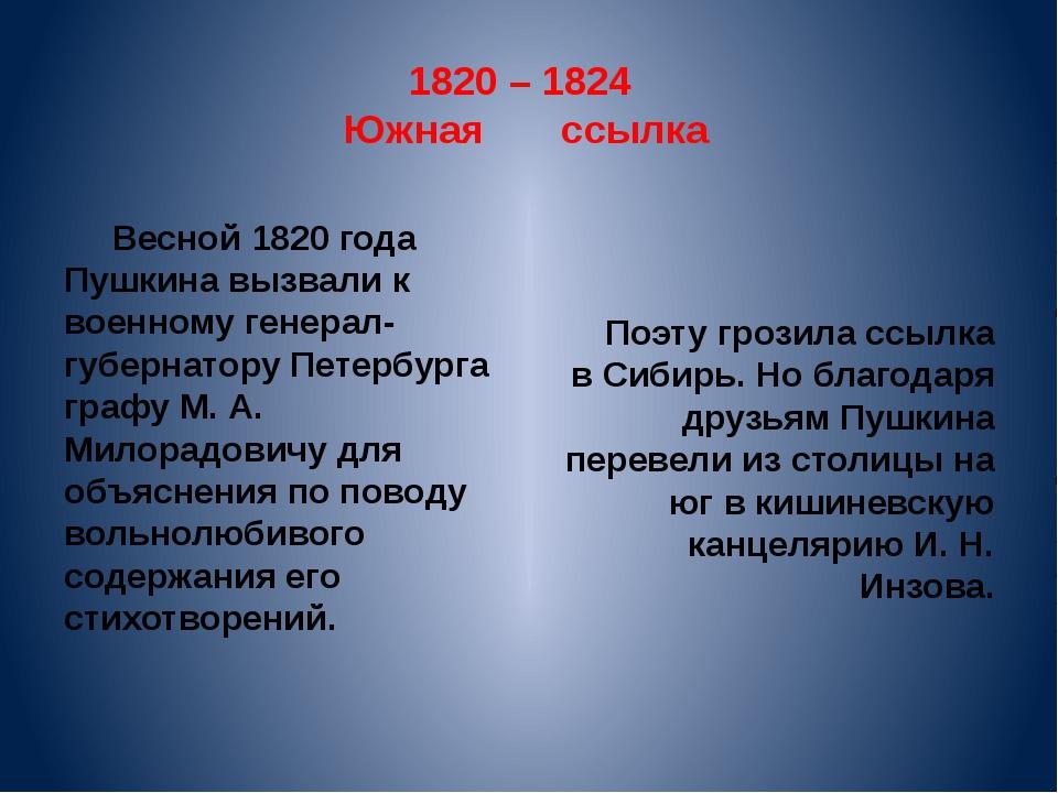 1820 – 1824 Южная ссылка Весной 1820 года Пушкина вызвали к военному генерал-...