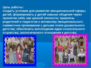 Цель работы: создать условия для развития эмоциональной сферы детей, формиров