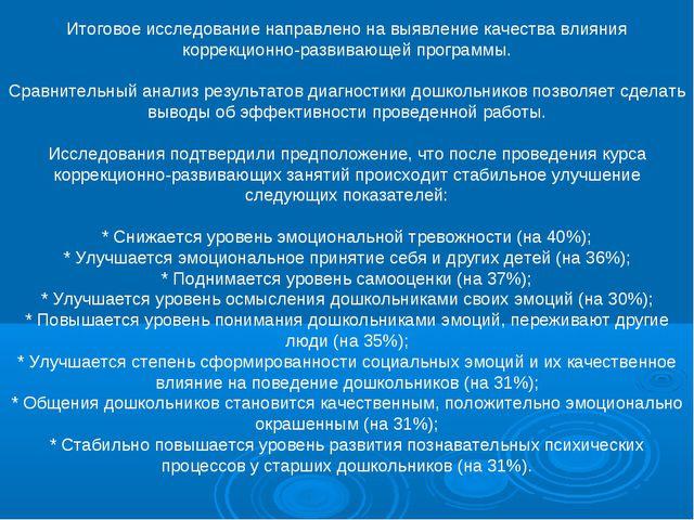 Итоговое исследование направлено на выявление качества влияния коррекционно-р...