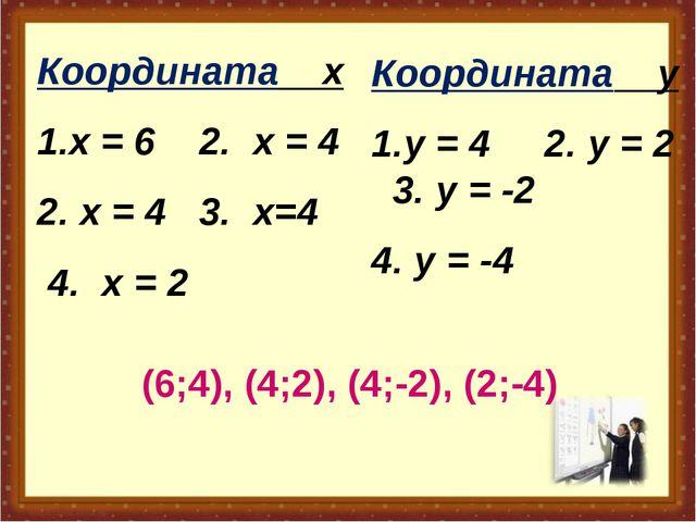 Координата х х = 6 2. х = 4 х = 4 3. х=4 4. х = 2 Координата у у = 4 2. у = 2...