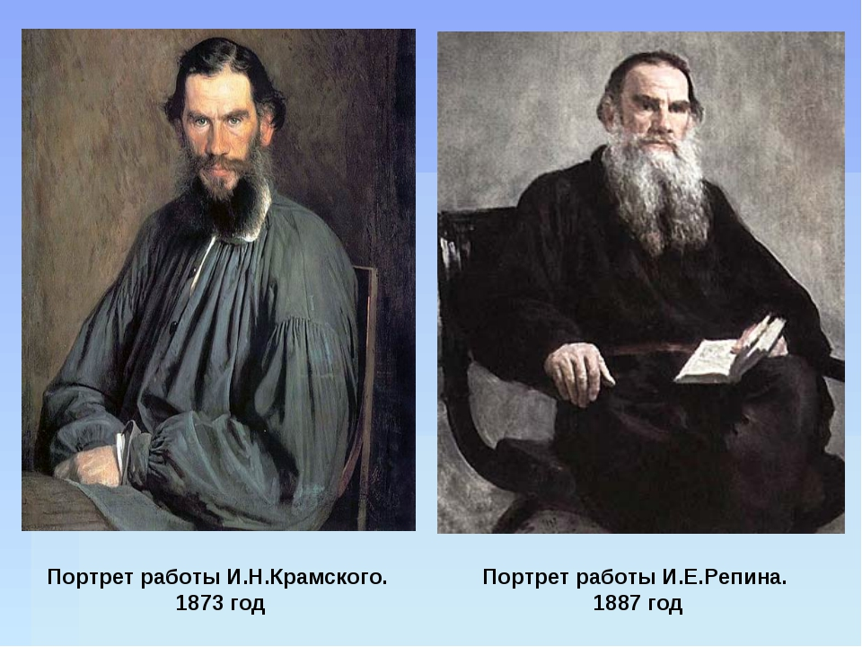 Портрет работы И.Н.Крамского. 1873 год Портрет работы И.Е.Репина. 1887 год