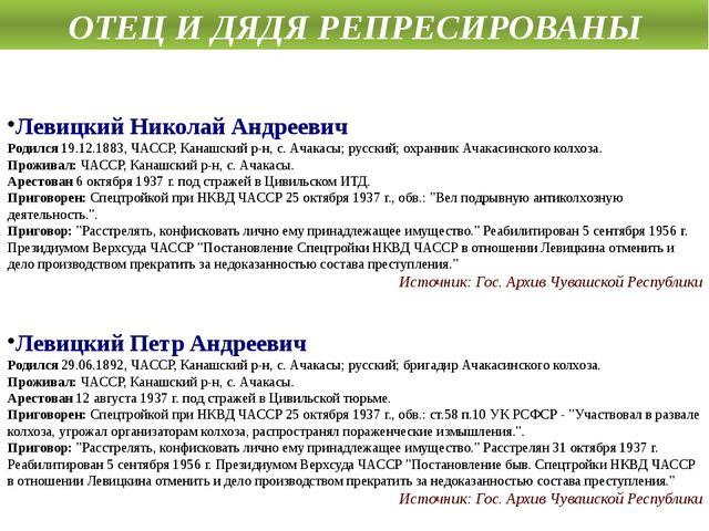Левицкий Николай Андреевич Родился19.12.1883, ЧАССР, Канашский р-н, с. Ачака...
