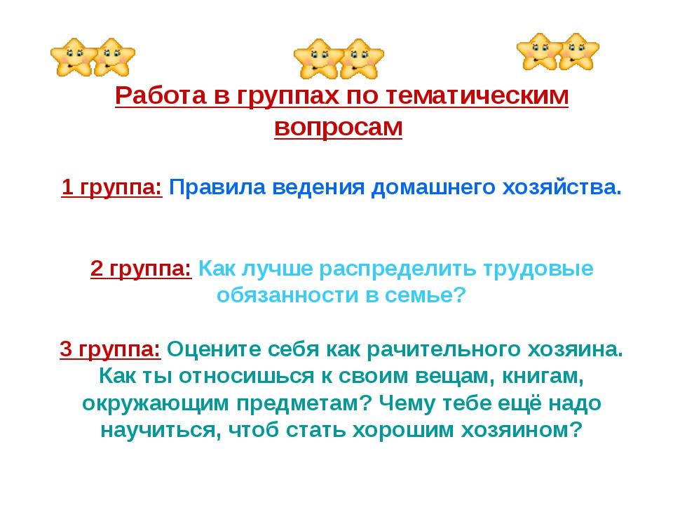 Работа в группах по тематическим вопросам 1 группа: Правила ведения домашнег...