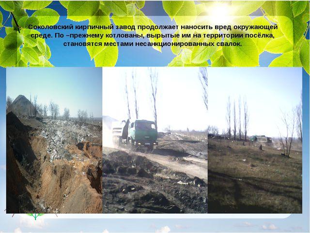 Соколовский кирпичный завод продолжает наносить вред окружающей среде. По –пр...