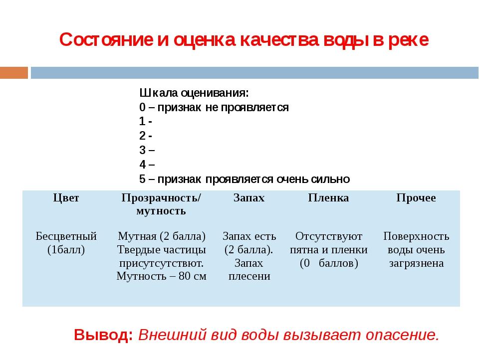 Состояние и оценка качества воды в реке Шкала оценивания: 0 – признак не проя...