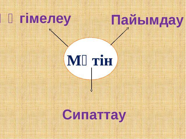 Мәтін Әңгімелеу Пайымдау Сипаттау