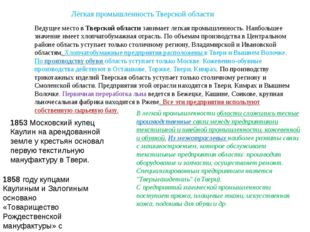 Лёгкая промышленность Тверской области Ведущее место вТверской областизаним
