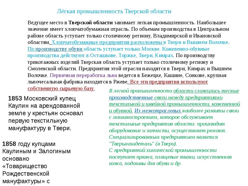 Лёгкая промышленность Тверской области Ведущее место вТверской областизаним...