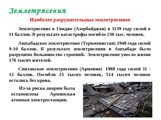 Наиболее разрушительные землетрясения Землетрясение в Гяндже (Азербайджан) в...