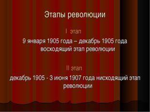 Этапы революции I этап 9 января 1905 года – декабрь 1905 года восходящий этап