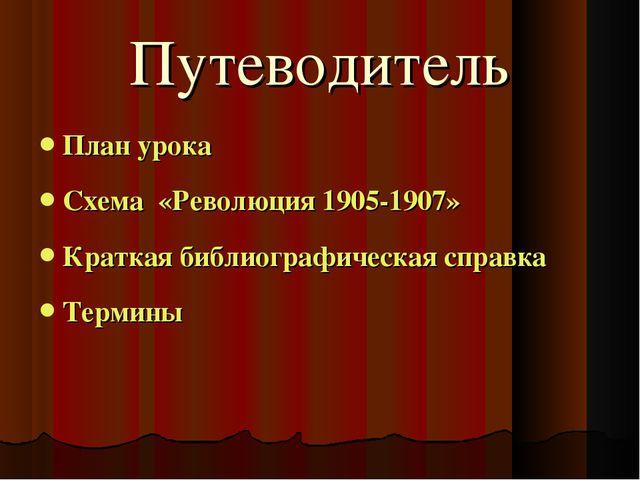 Путеводитель План урока Схема «Революция 1905-1907» Краткая библиографическая...