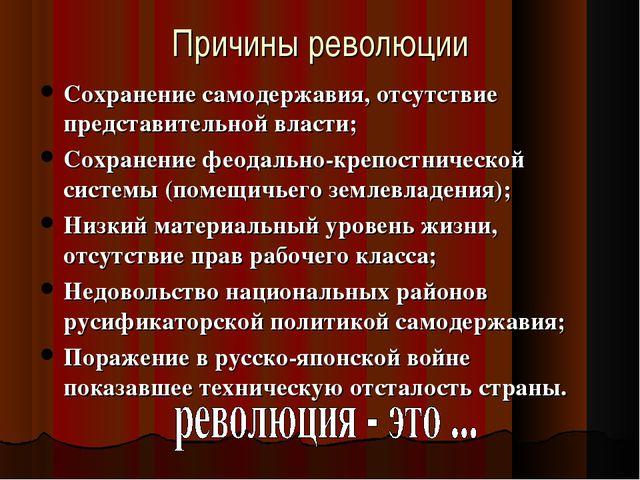 Причины революции Сохранение самодержавия, отсутствие представительной власти...