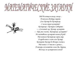 Над болотцем тихо, тихо... В теплом воздухе парят Сам Комар да Комариха, С н