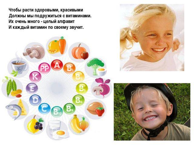 Чтобы расти здоровыми, красивыми Должны мы подружиться с витаминами. Их очень...