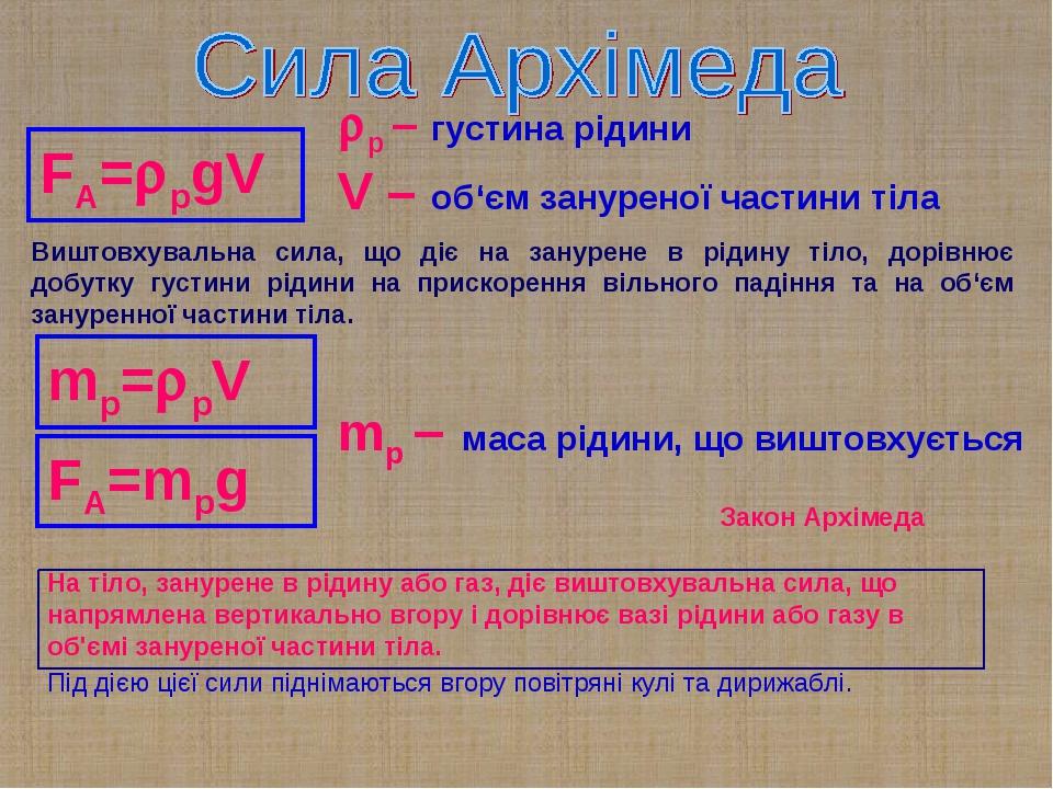 FA=рgV р – густина рідини V – об'єм зануреної частини тіла mр=рV FA=mрg mр...