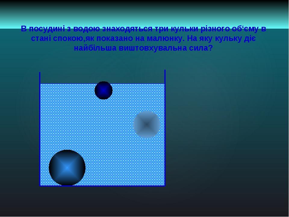В посудині з водою знаходяться три кульки різного об'єму в стані спокою,як по...