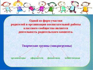 Творческие группы (микрогруппы) Одной из форм участия родителей в организаци