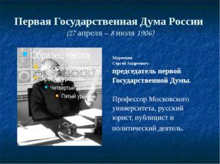 Первая Государственная Дума России (27 апреля – 8 июля 1906) Муромцев Сергей