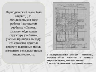 Периодический закон был открыт Д. И. Менделеевым в ходе работы над текстом уч