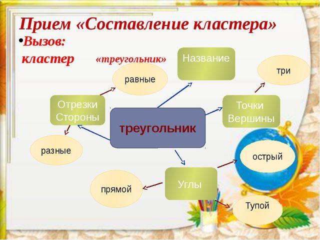 Прием «Составление кластера» «треугольник» Вызов: кластер треугольник Назван...