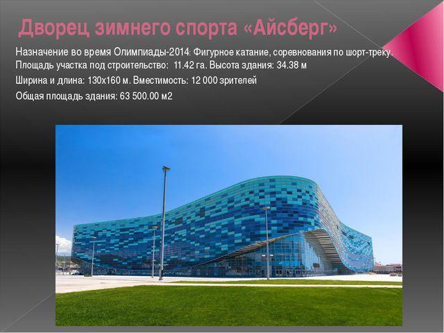 Дворец зимнего спорта «Айсберг» Назначение во время Олимпиады-2014:Фигурное...