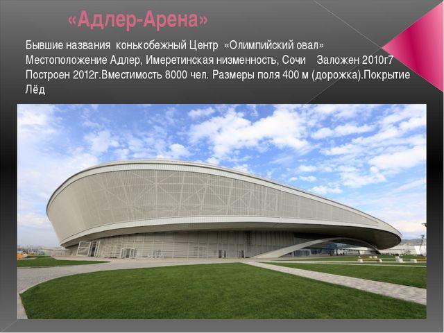 «Адлер-Арена» Бывшие названия конькобежный Центр «Олимпийский овал» Местопо...