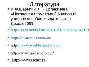 Литература И.Ф.Шарыгин, Л.Н.Ерганжиева «Наглядная геометрия.5-6 классы» учебн