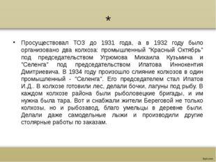 * Просуществовал ТОЗ до 1931 года, а в 1932 году было организовано два колхоз