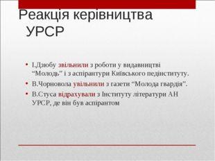"""Реакція керівництва УРСР І.Дзюбу звільнили з роботи у видавництві """"Молодь"""" і"""