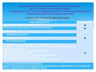 СТРУКТУРА УЧЕБНОЙ ДИСЦИПЛИНЫ Презентация примерной программы учебной дисципли