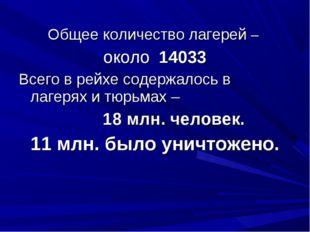 Общее количество лагерей – около 14033 Всего в рейхе содержалось в лагерях и