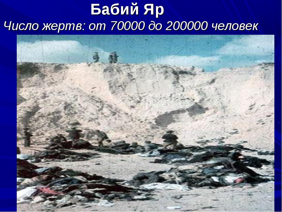 Бабий Яр Число жертв: от 70000 до 200000 человек