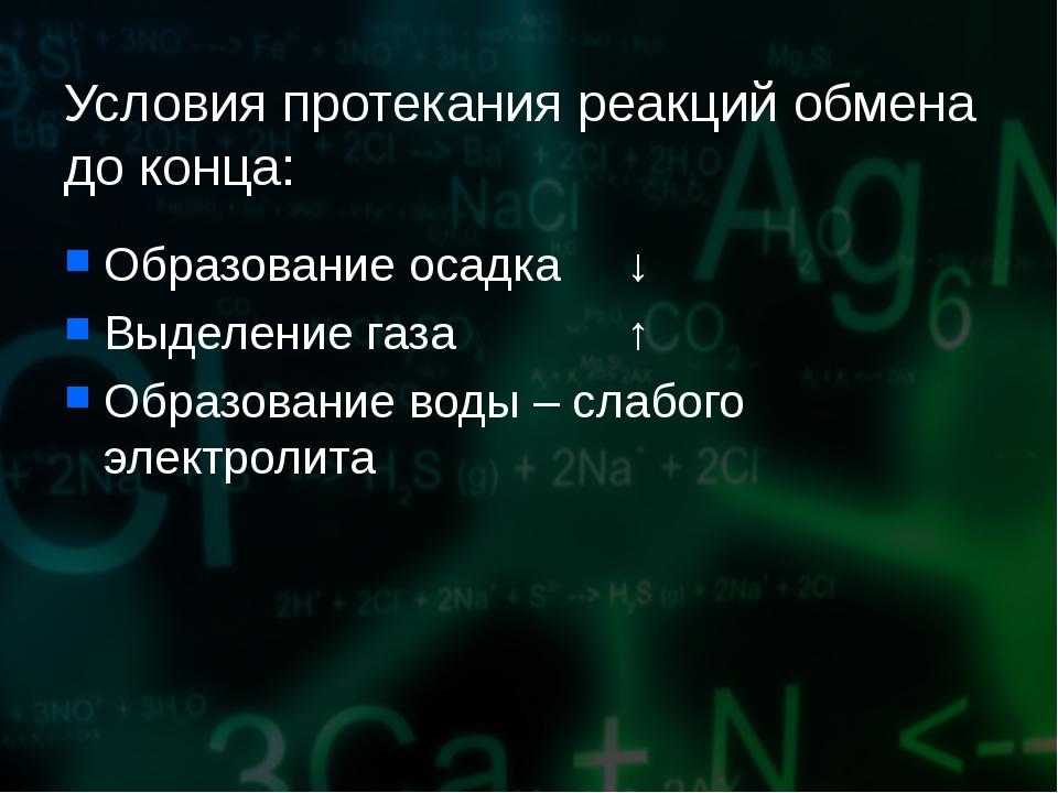Условия протекания реакций обмена до конца: Образование осадка ↓ Выделение га...