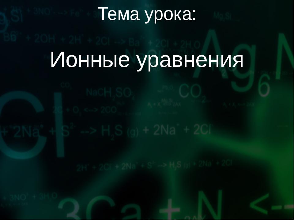 Тема урока: Ионные уравнения