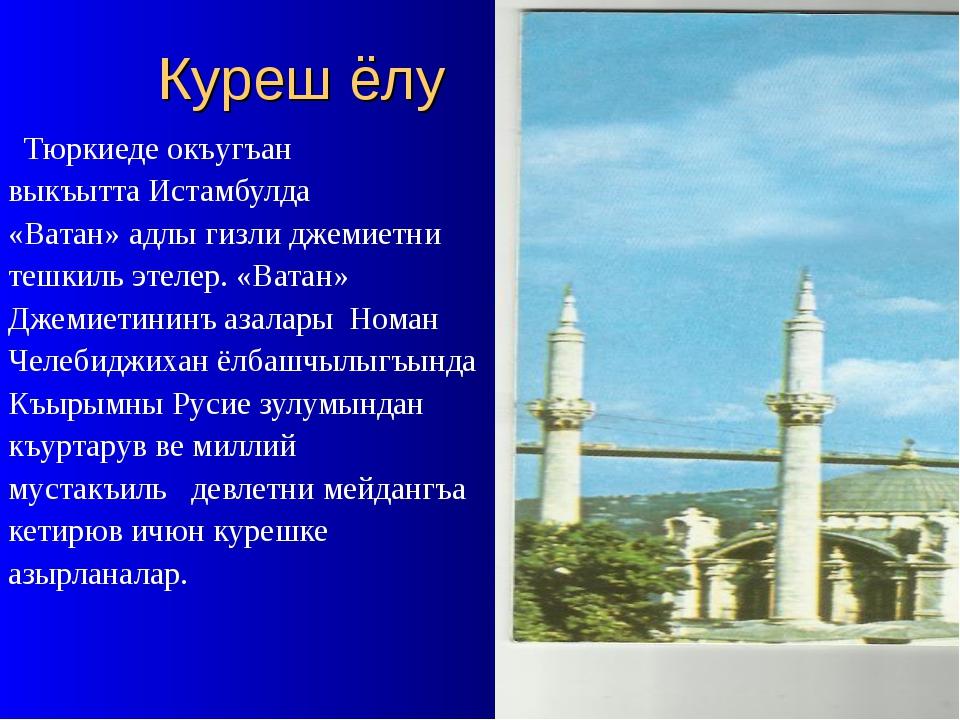 Куреш ёлу Тюркиеде окъугъан выкъытта Истамбулда «Ватан» адлы гизли джемиетни...