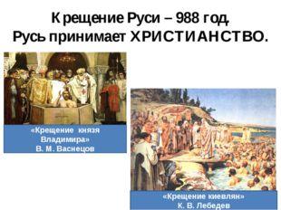 Крещение Руси – 988 год. Русь принимает ХРИСТИАНСТВО. «Крещение князя Владими