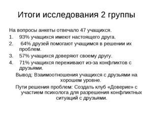 Итоги исследования 2 группы На вопросы анкеты отвечало 47 учащихся. 93% учащи