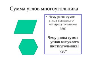 Сумма углов многоугольника Чему равна сумма углов выпуклого четырехугольника?
