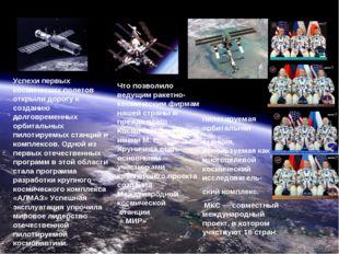 Дом на орбите- наше сегодня Успехи первых космических полетов открыли дорогу