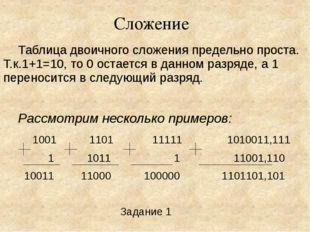 Сложение Таблица двоичного сложения предельно проста. Т.к.1+1=10, то 0 остае