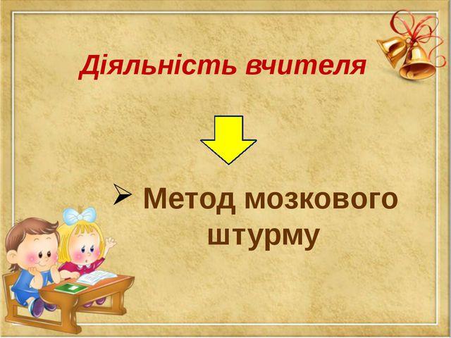 Діяльність вчителя Метод мозкового штурму
