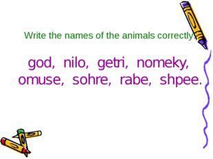 Write the names of the animals correctly: god, nilo, getri, nomeky, omuse, so