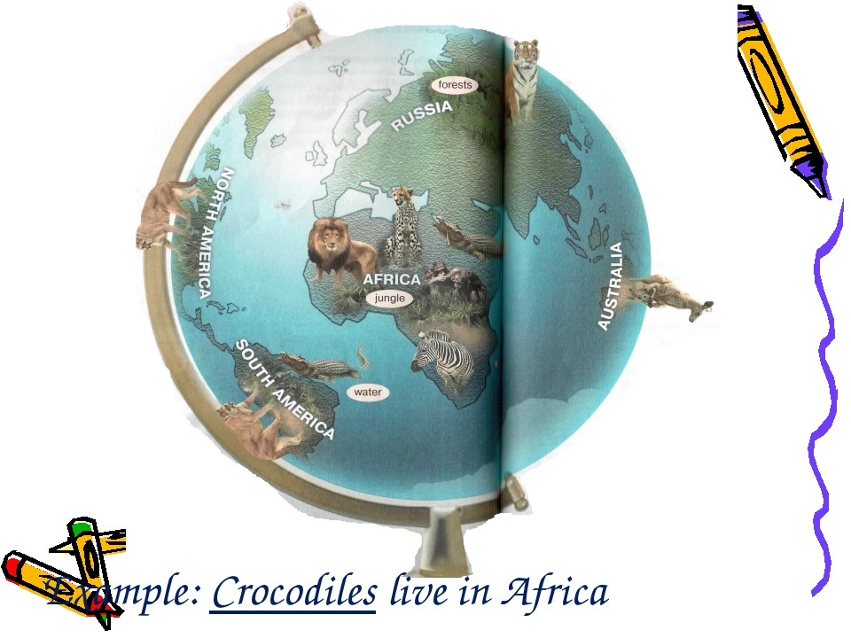 Example: Crocodiles live in Africa