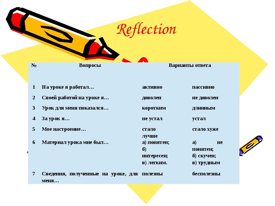 Reflection № Вопросы Варианты ответа 1 На уроке я работал… активно пассивно 2...