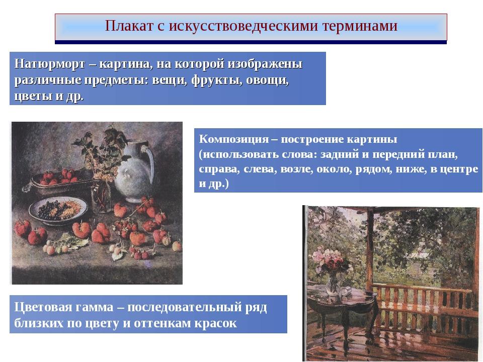 Плакат с искусствоведческими терминами Натюрморт – картина, на которой изобра...