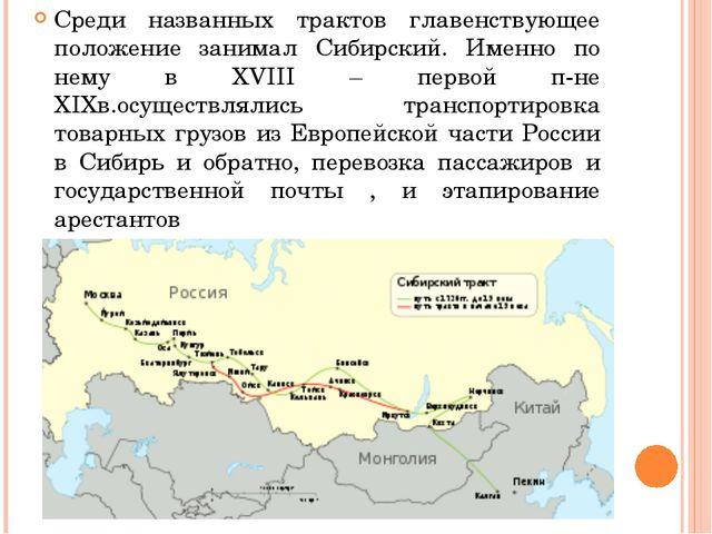 Среди названных трактов главенствующее положение занимал Сибирский. Именно п...